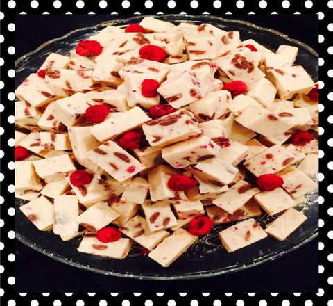 White Chocolate Raspberry Fudge