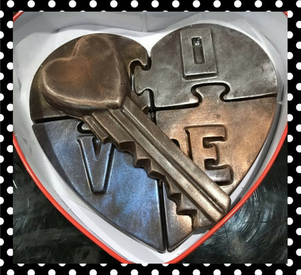 """Give a Little Love"" Heart Puzzle with Heart Key in a Red Heart Box"