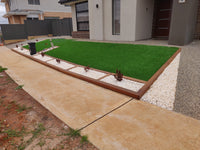 front yard landscaping with sythentic turf kandklandscaping