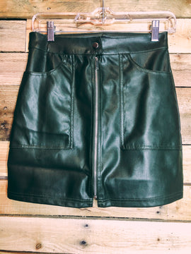 Faux leather olive skirt