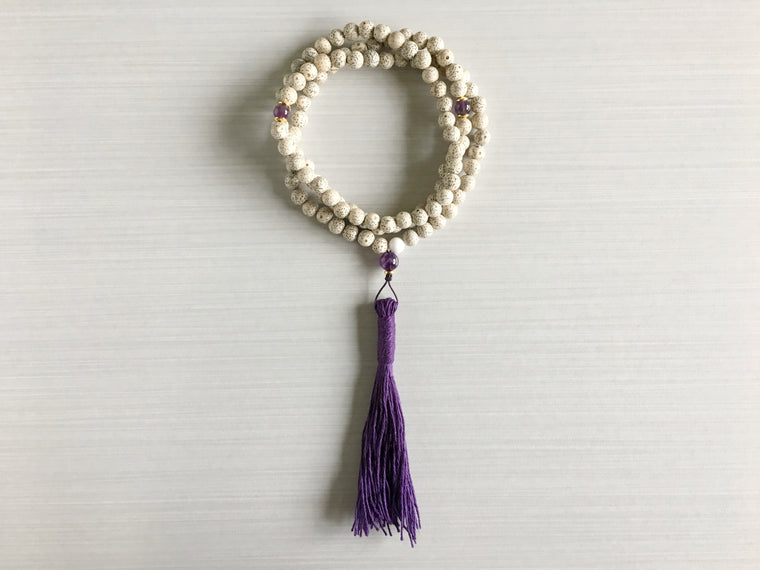 Chinese Lotus Seed Mala Beads with Amethyst & Dark Violet Tassel