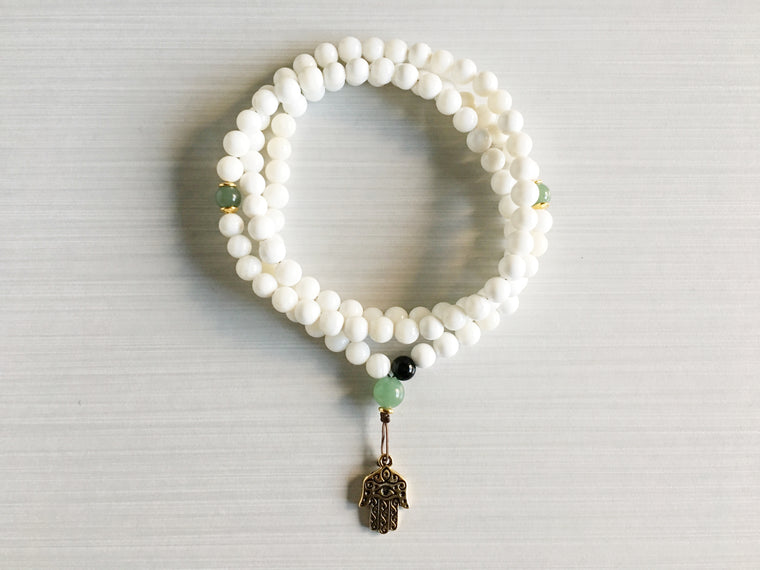 Conch Shell Mala Beads with Aventurine & Hamsa Pendant