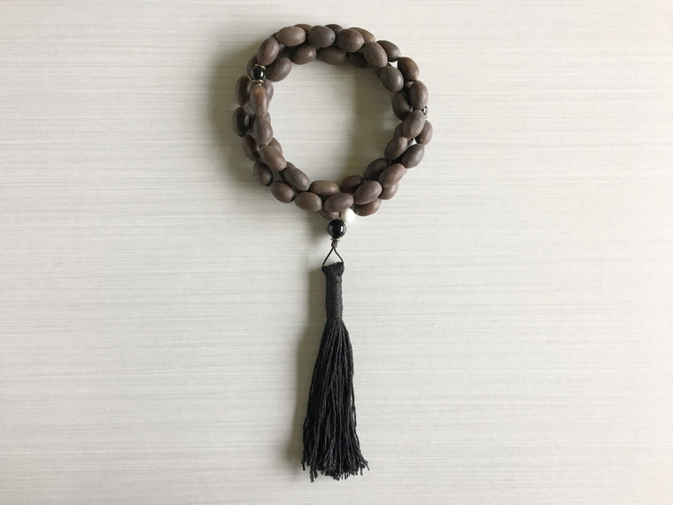 Indian Lotus Seed Mala Beads with Black Onyx & Black Tassel