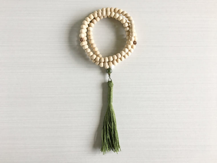 Tulsi Wood Mala Beads with Antique Copper Roses & Dark Green Tassel