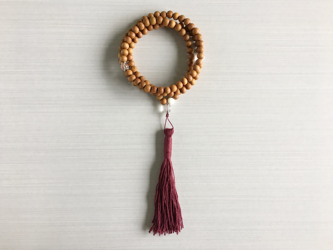 Sandalwood Mala Beads with Clear Quartz & Burgundy Tassel
