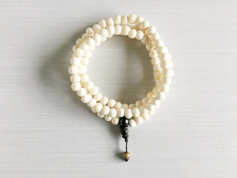 Tibetan Yak Bone Mala Beads with Mantra Bead