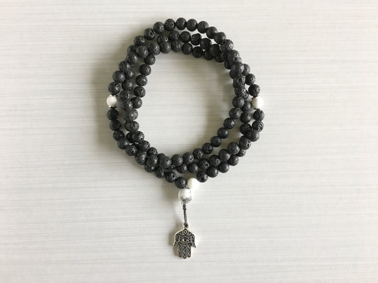 Lava Rock Mala Beads with Howlite & Hamsa Pendant