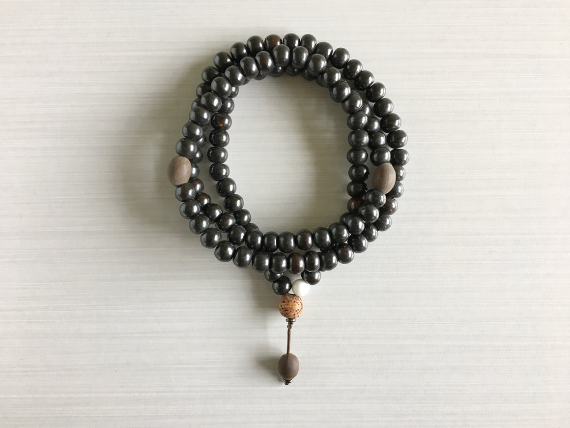 Dark Tibetan Yak Bone Mala Beads with Indian Lotus Seed
