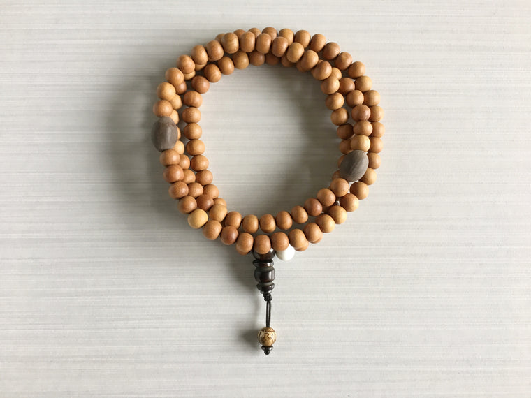 Sandalwood Mala Beads with Indian Lotus Seed & Mantra Bead
