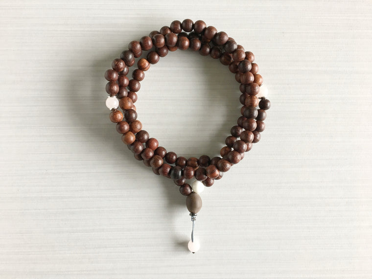 Indian Rosewood Mala Beads with Rose Quartz