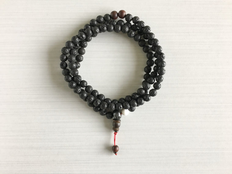 Lava Rock Mala Beads with Indian Rosewood
