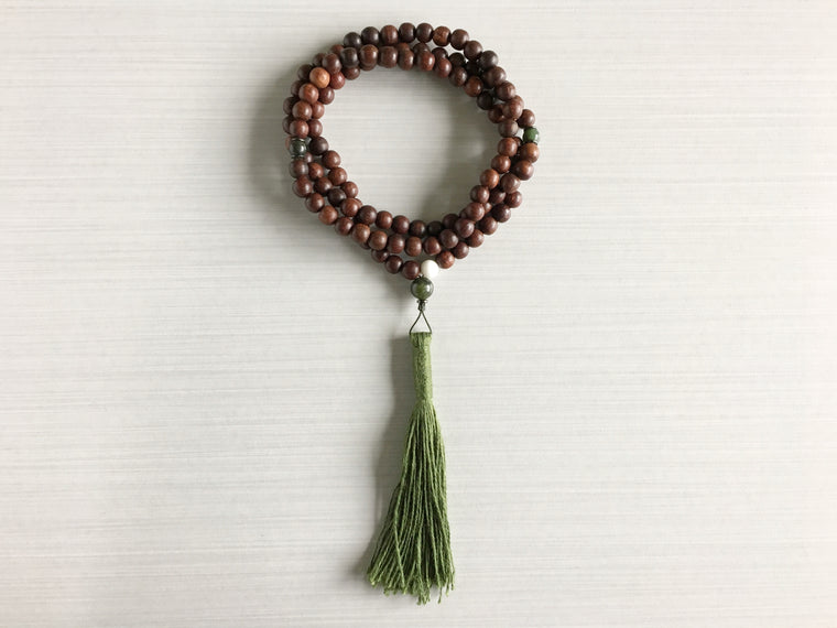 Indian Rosewood Mala Beads with Jade & Dark Green Tassel