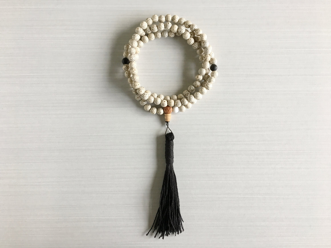 Chinese Lotus Seed Mala Beads with Lava Rock & Black Tassel