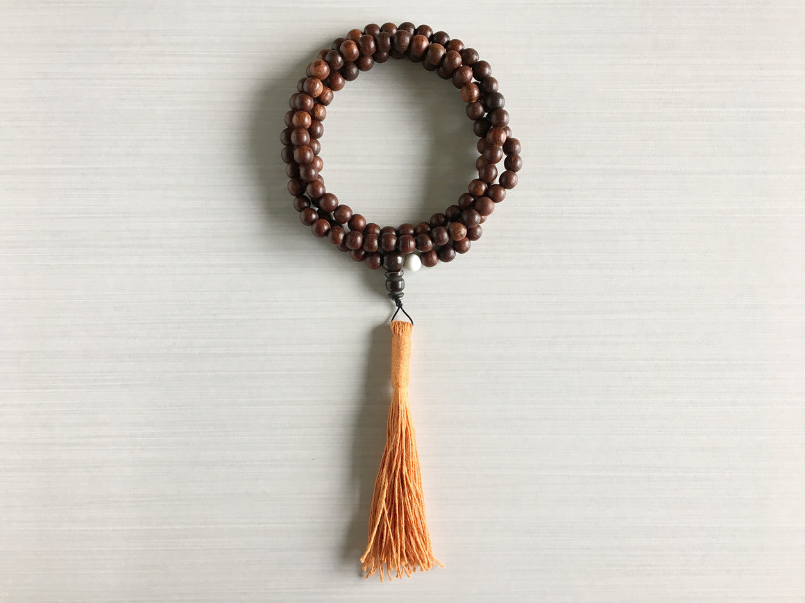 Indian Rosewood Mala Beads with Orange Tassel