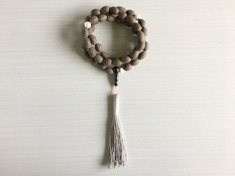 Indian Lotus Seed Mala Beads with Pearl & Light Grey Tassel