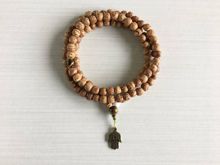 Indian Bodhi Seed Mala Beads with Tiger's Eye & Hamsa Pendant