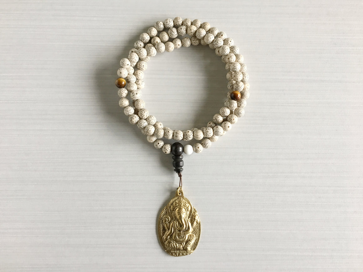Chinese Lotus Seed Mala Beads with Tiger's Eye & Ganesh Pendant