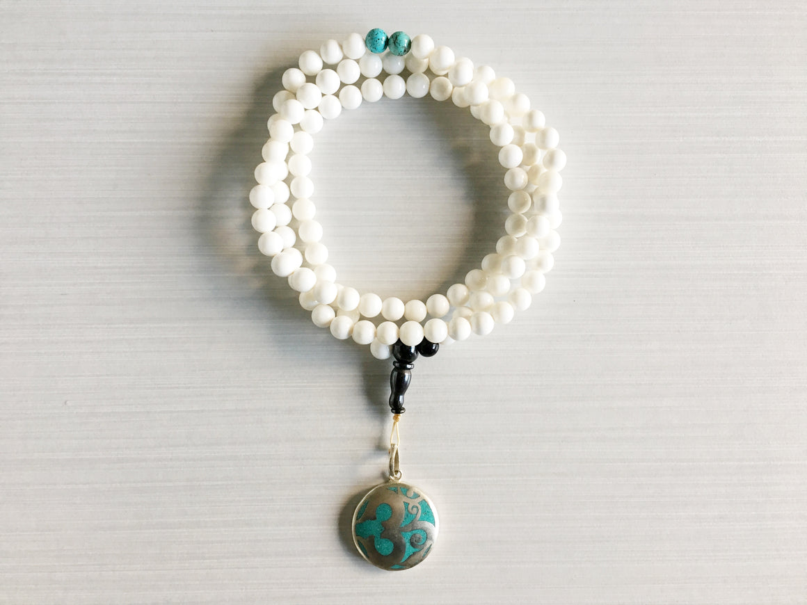 Conch Shell Mala Beads with Turquoise & Om Pendant