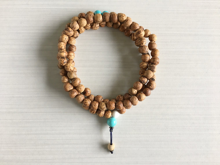 Indian Bodhi Seed Mala Beads with Turquoise & White Sandalwood