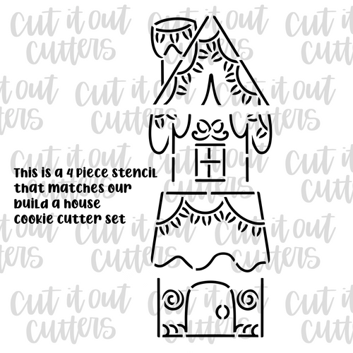 PYO Build A Gingerbread House Cookie Stencil