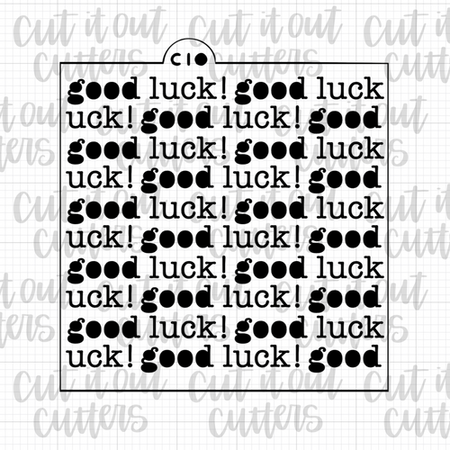 Good Luck Typewriter Cookie Stencil