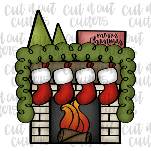 Cozy Fireplace Platter Cookie Cutter Set