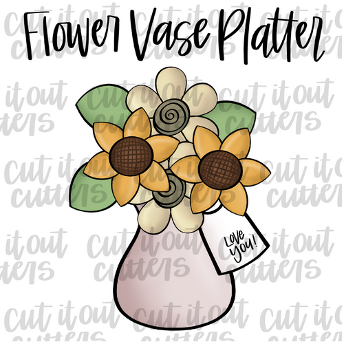 Flower Vase Cookie Cutter Platter