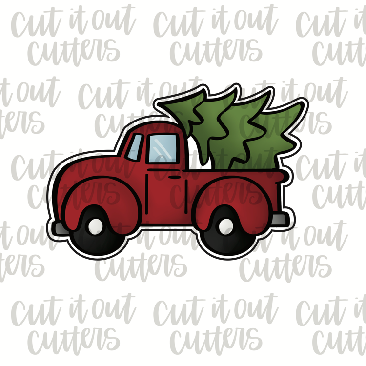 Chubby Pick Up Truck with Tree Cookie Cutter