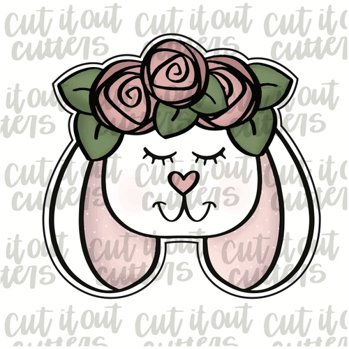 Flower Crown Bunny 2 Cookie Cutter