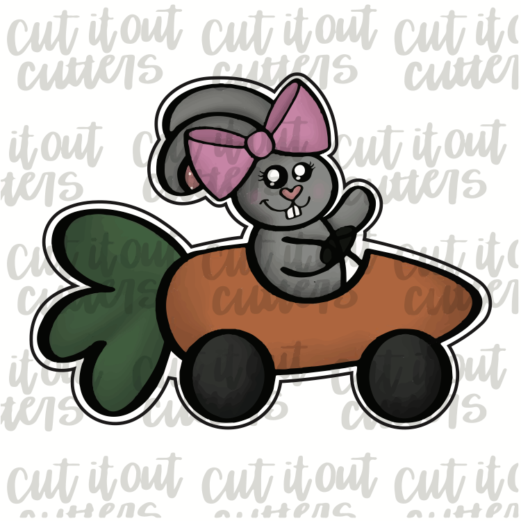 Girl Bunny In Carrot Car Cookie Cutter