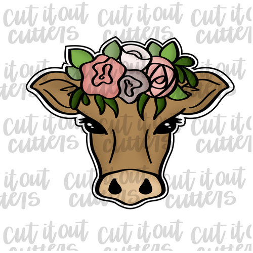 Flower Crown Girly Cow Cookie Cutter