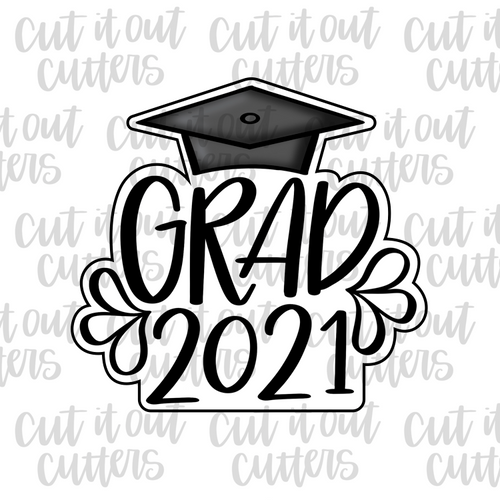 Grad Year and Cap Cookie Cutter