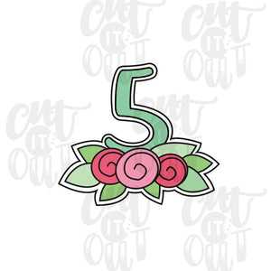 Floral Number Five Cookie Cutter
