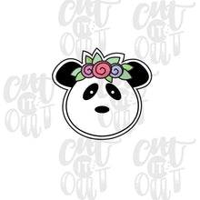 Load image into Gallery viewer, Flower Crown Panda Cookie Cutter
