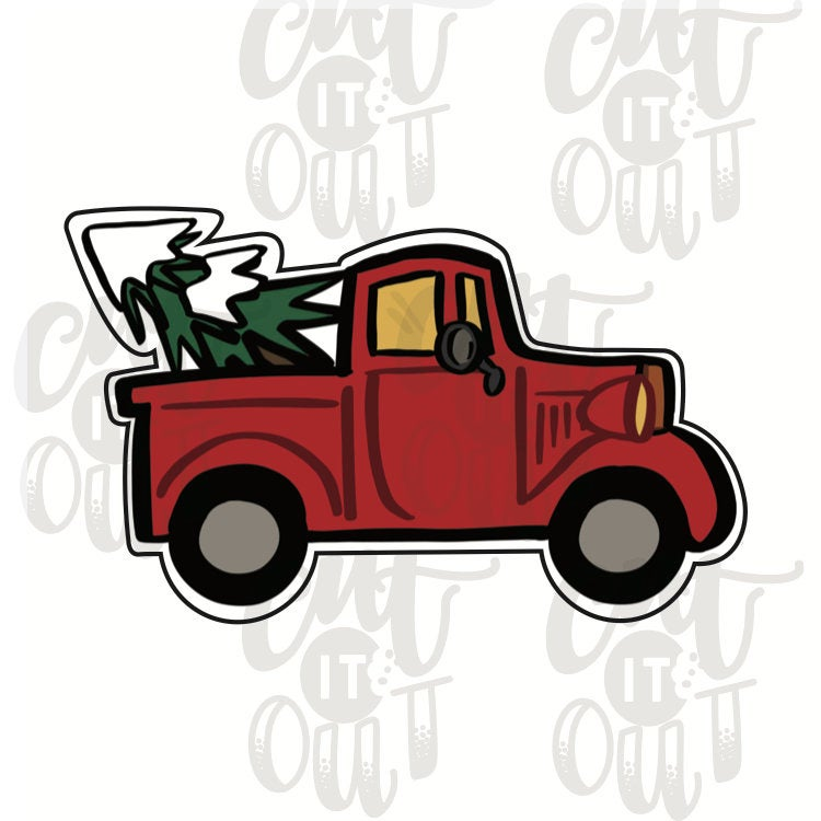 Pick Up Truck with Tree Cookie Cutter