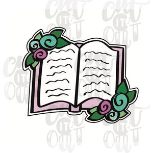 Floral Open Book Cookie Cutter