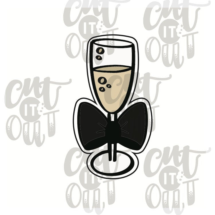 Champagne Flute with Bow Cookie Cutter