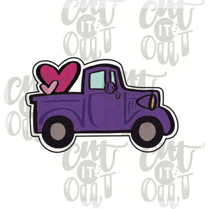 Pick Up Truck with Hearts Cookie Cutter