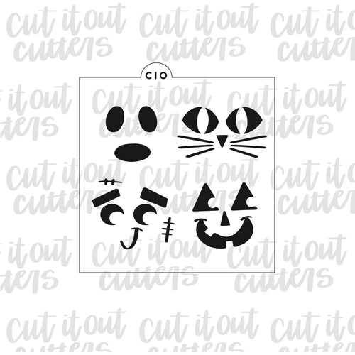 Halloween Faces Cookie Stencil
