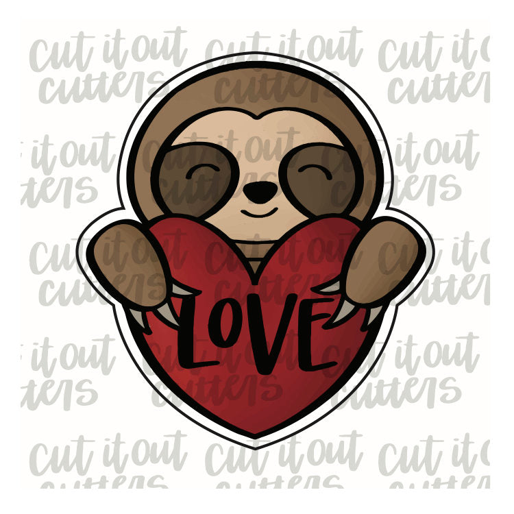 Sloth with Heart Cookie Cutter