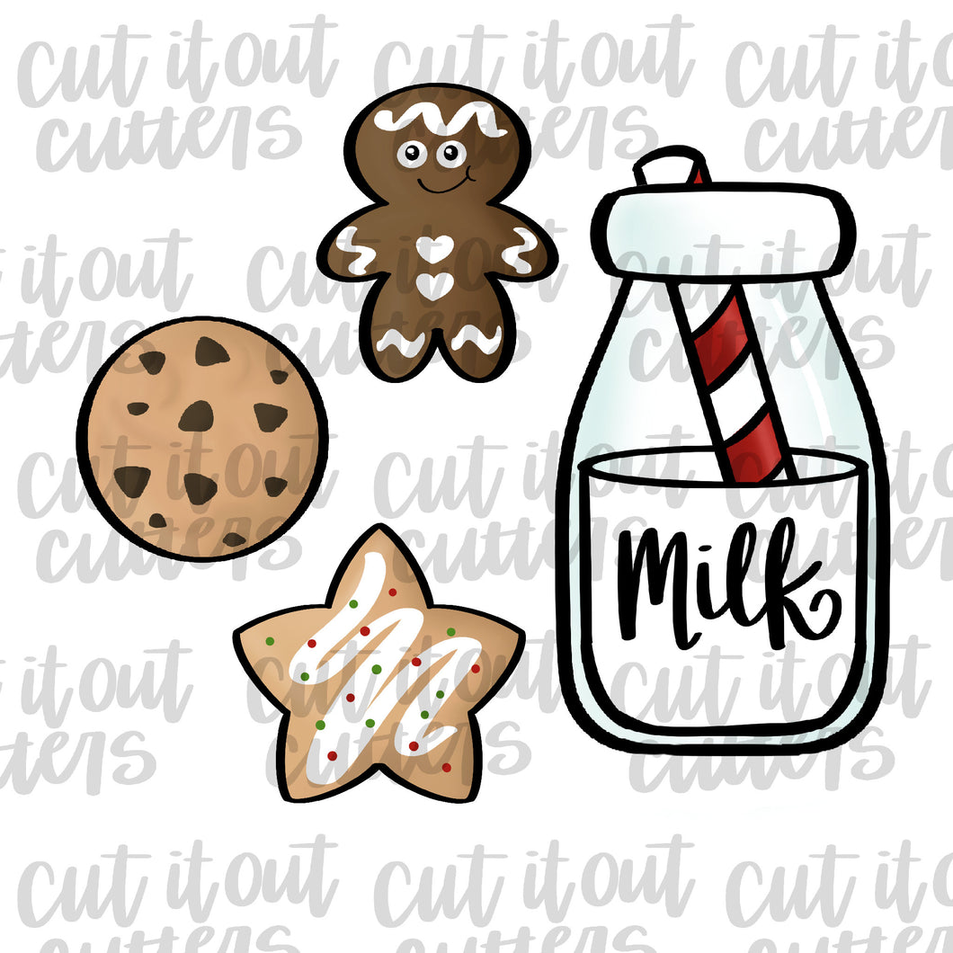 Milk and Cookies Cookie Cutter Set
