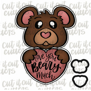 2 Piece Bear Heart Cookie Cutter