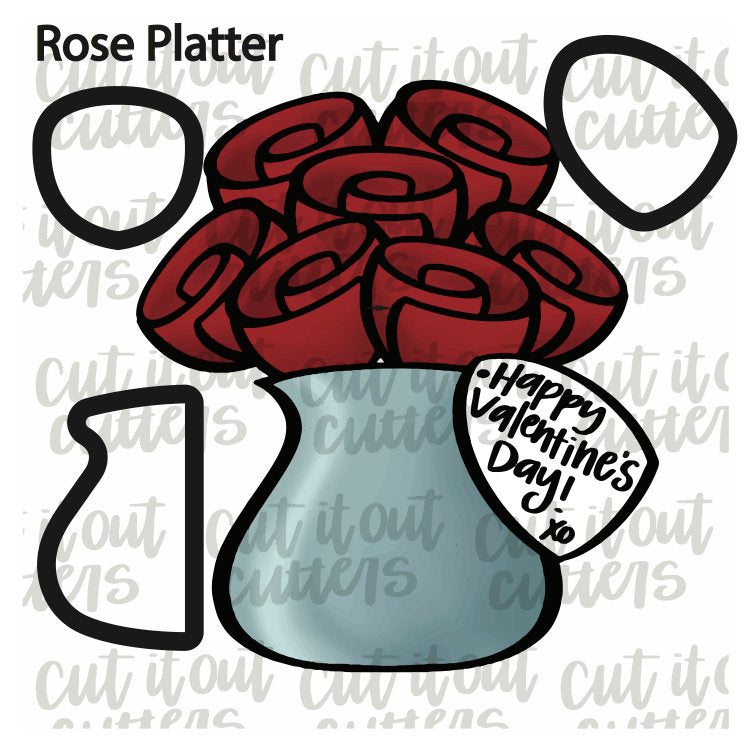 Rose Cookie Cutter Platter