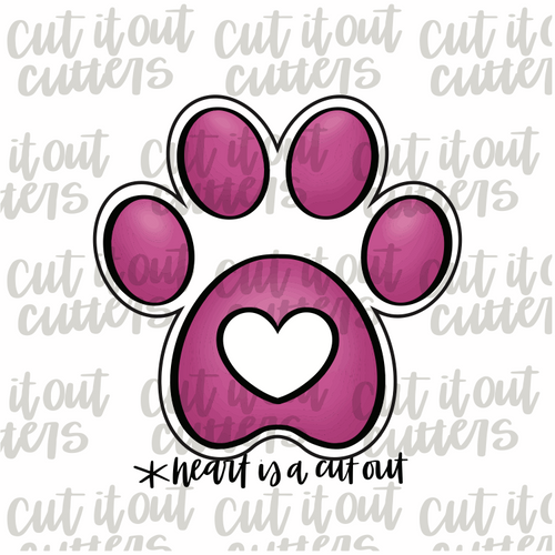 Love Paw Print Cookie Cutter
