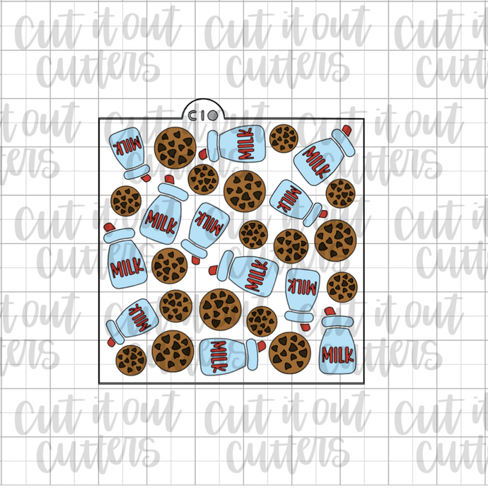 Milk and Cookies - 4 Piece - Cookie Stencil