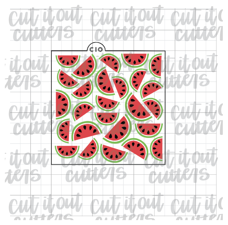 3 Piece Scattered Watermelons Cookie Stencil