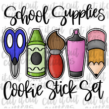 Load image into Gallery viewer, School Supplies Cookie Stick Set