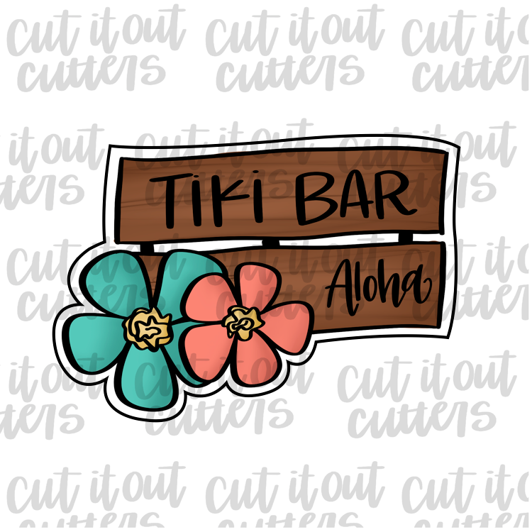 Tiki Bar Sign Cookie Cutter