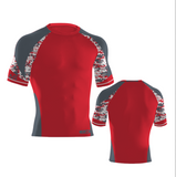 Camo Compression Shirt- Red/Carbon/White