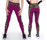Casual custom violet leggings with 70's decade prints